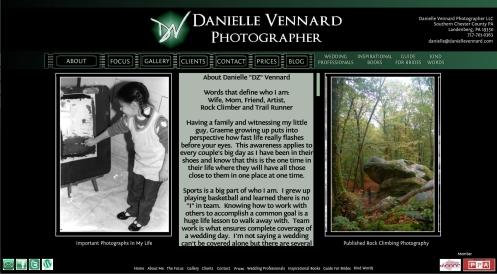 Danielle Vennard Photographer About Me webpage