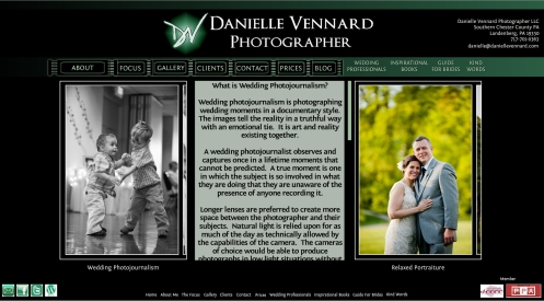 Danielle Vennard Photographer About Wedding Photojournalism webpage