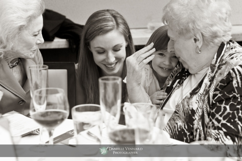 flower girl, bride and grandmothers all happy to be together