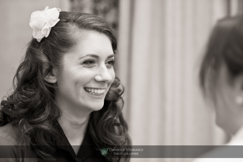 bride having a moment with her make-up artist Copyright 2012 Danielle Vennard Photographer