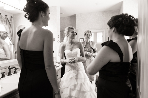 bride with bridesmaids and mother