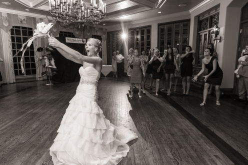 bride about to let the bouquet loose