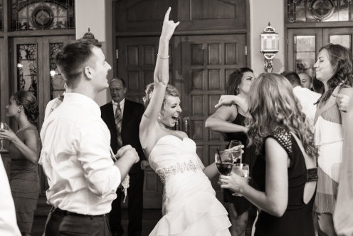 bride in the moment of having the time of her life