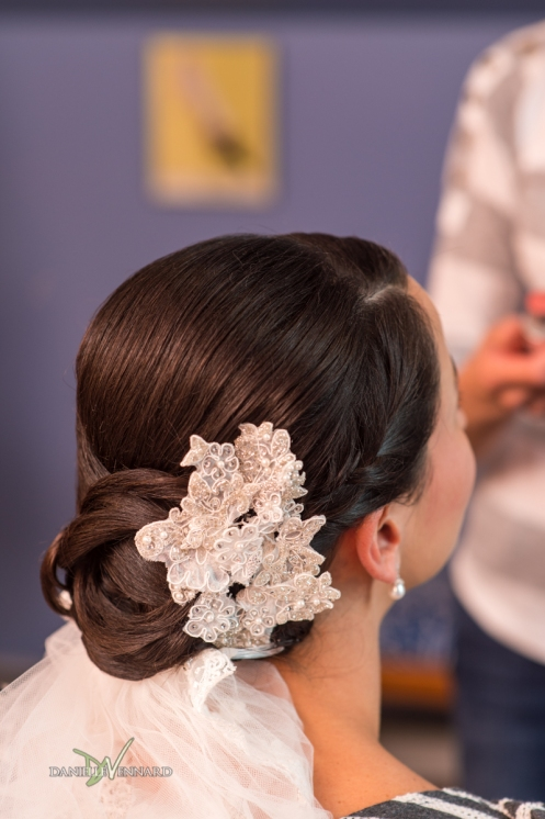 Bride's hair and crocheted hair piece