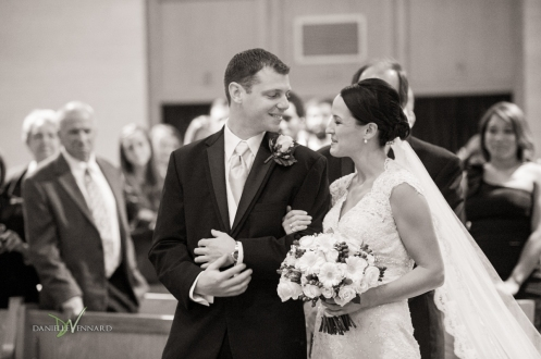 bride and groom first look during ceremony