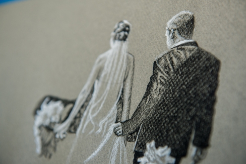 close up detail of black and white charcoal drawing based on wedding photography of Danielle Vennard Photographer