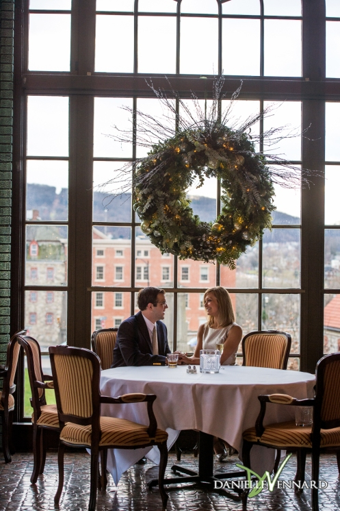 Engaged Couple at 1741 on the Terrace at Hotel Bethlehem
