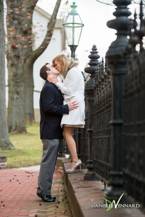 Engagement Photography - Danielle Vennard Photographer - engaged couple in Bethlehem, PA - on his tippy toes for a kiss