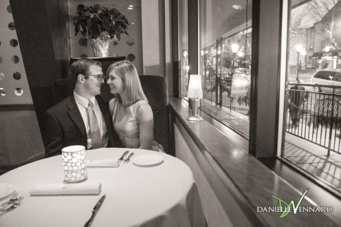Engagement Photography - Danielle Vennard Photographer - engaged couple in Bethlehem, PA - a moment with the engaged couple at the Edge Restaurant in Downtown Bethlehem, PA