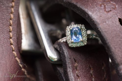 Detailed macro image of the engagement ring on a horse saddle