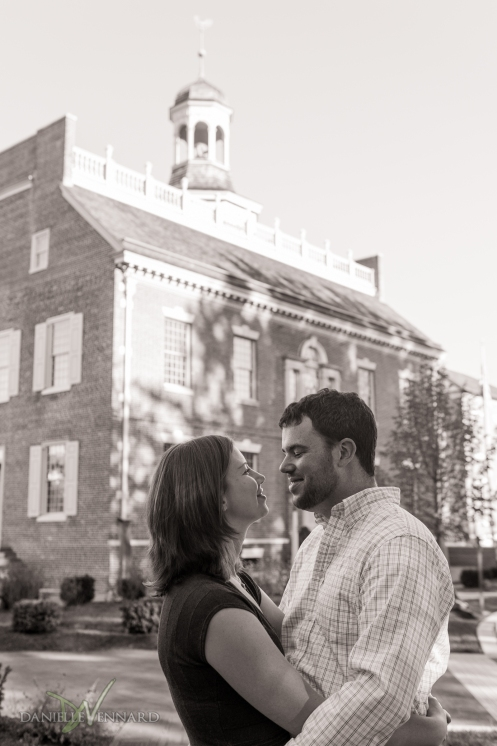 Engaged couple together in historical Dover, Delaware - Engagement Photography by Danielle Vennard Photographer - In Pursuit of Moments Unrehearsed - daniellevennard.com