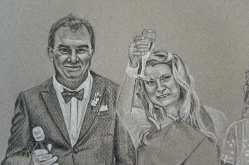 Danielle Vennard Wedding Heirloom:  Black and White Charcoal Drawing