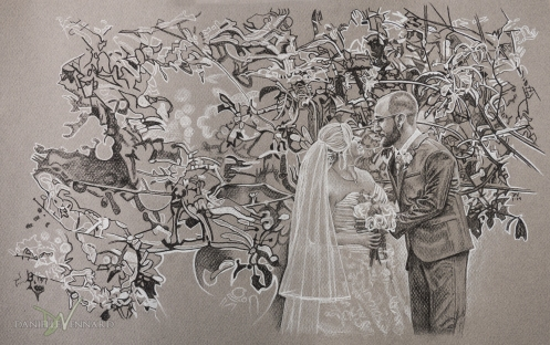 Black and White Charcoal Drawing of Bride and Groom in an orchard on Avon Bleu Farm, Lincoln University, PA - Photography by Danielle Vennard Photographer - In Pursuit of Moments Unrehearsed - daniellevennard.com