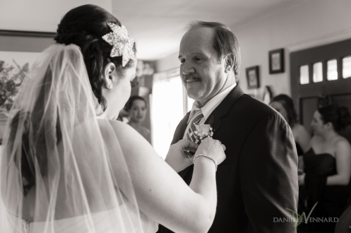 Bride pinning on her father's boutonniere - Wedding Photography by Danielle Vennard Photographer - In Pursuit of Moments Unrehearsed - daniellevennard.com