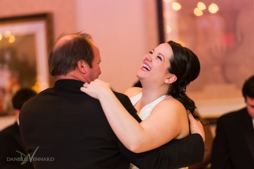Bride and father dancing and laughing in ballroom of Hilton Christiana, DE - Wedding Photography by Danielle Vennard Photographer - In Pursuit of Moments Unrehearsed - daniellevennard.com