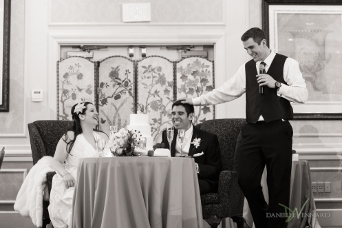 Best man speech and toast in ballroom of Hilton Christiana, DE - Wedding Photography by Danielle Vennard Photographer - In Pursuit of Moments Unrehearsed - daniellevennard.com