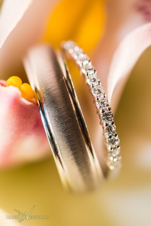 Detail of wedding bands in an orchid