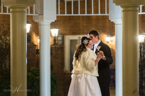 Relaxed portrait of the bride and groom under the pavilion on the courtyard at the Hilton Christiana - Wedding Photography by Danielle Vennard Photographer - In Pursuit of Moments Unrehearsed - daniellevennard.com