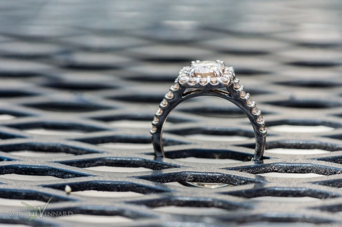 Detail of engagement ring on outside restaurant table - Parish Cafe - Boston, MA - Engagement Photography by Danielle Vennard Photographer - In Pursuit of Moments Unrehearsed - daniellevennard.com