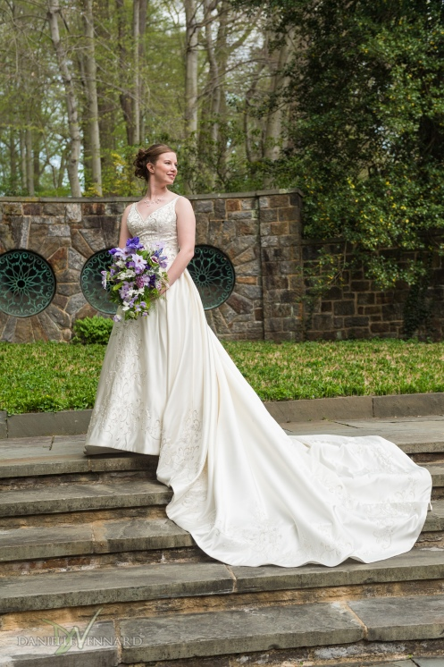 Bridal Portrait - Bride with flowers at Winterthur - Photography by Danielle Vennard Photographer - In Pursuit of Moments Unrehearsed - daniellevennard.com