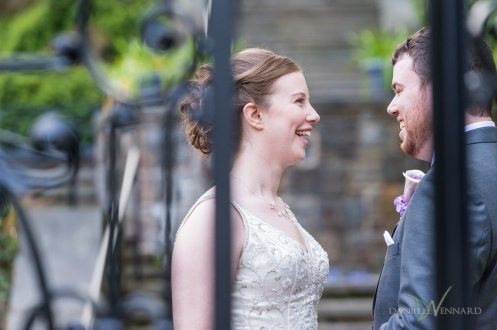 Bride and Groom laughing together in the garden of Winterthur - Photography by Danielle Vennard Photographer - In Pursuit of Moments Unrehearsed - daniellevennard.com
