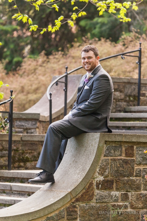 Bridal Portrait - Groom sitting on steps at Winterthur - Photography by Danielle Vennard Photographer - In Pursuit of Moments Unrehearsed - daniellevennard.com