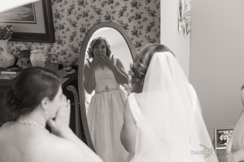 West Chester, Pennsylvania Wedding Photography - Summer - Outside Wedding - Bride seeing herself in the mirror for the first time. - Danielle Vennard Photographer - In Pursuit of Moments Unrehearsed - daniellevennard.com
