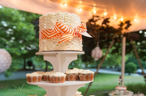 West Chester, Pennsylvania Wedding Photography - Summer - Outside Wedding - Wedding cake/cupcake orange and white - Danielle Vennard Photographer - In Pursuit of Moments Unrehearsed - daniellevennard.com